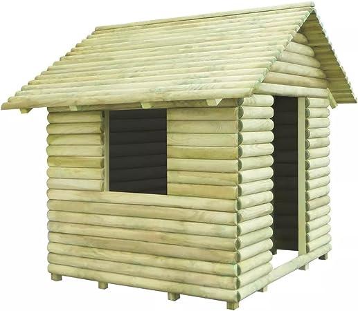 Fijo Night Casa de juguete Juego de Niños casa jardín hogar para niños pino madera impermeabilizada 167 x 150 x 151 cm: Amazon.es: Hogar