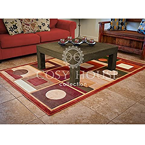 Cosy House Contemporary Area Rugs for Indoors & Out   Plush High Pile Olefin Polypropylene   Resists Stains, Soil & Fading   Power Loomed in Turkey, 5'2