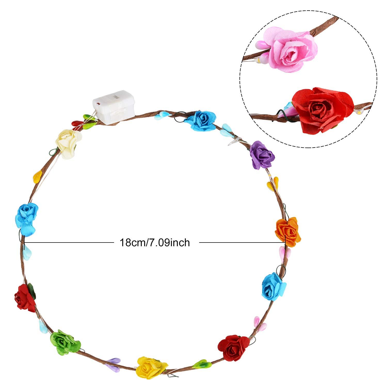 Led Blumenkranz, Joyibay 10PCS Garland Stirnband Dekorative Leucht Flower Crown Blumenkranz für Frauen Mädchen mit 3 verschiedenen LED-Modi Dekor, Glow Wreath Kopfschmuck für Festival Hochzeitsfeier