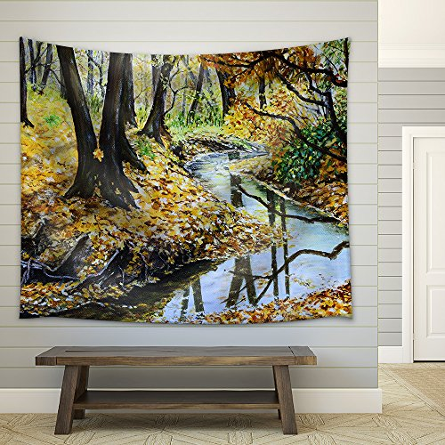 Autumn Forest with a Stream Original Landscape Painting Fabric Wall