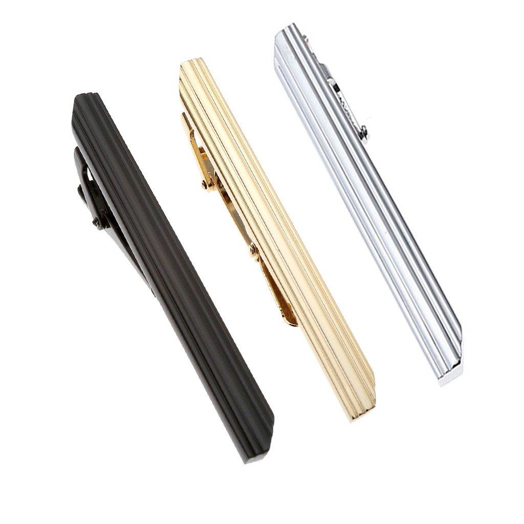 PiercingJ 3pcs Set Stainless Steel Exquisite GQ Classic Tie Bar Clip, Silver Tone, 2.3Inches Silver Golden Black Tone AXUK080215