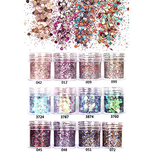 (GOTONE 12 Boxes Chunky Glitter, Iridescent Flakes Nail Sequins Ultra-thin Tips Colorful Mixed Paillette Festival Glitter For Nail Cosmetic Face Body Hair Makeup,Nail Decorations)