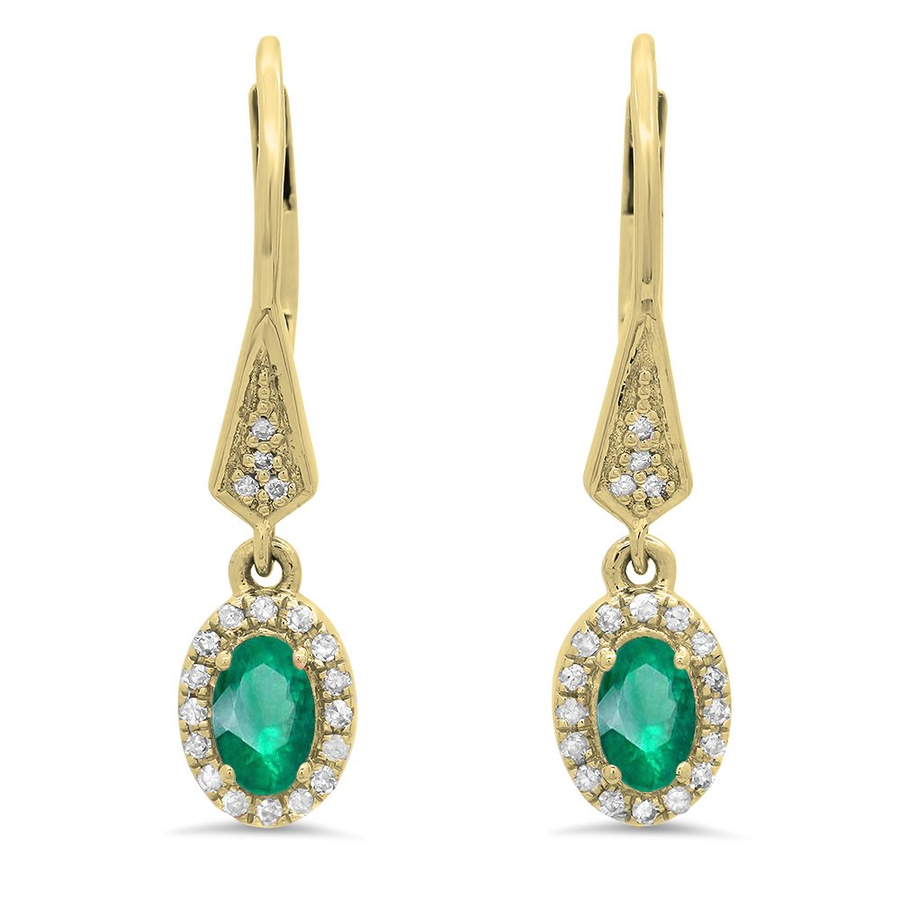 10K Yellow Gold Oval Emerald & Round White Diamond Ladies Halo Style Dangling Drop Earrings