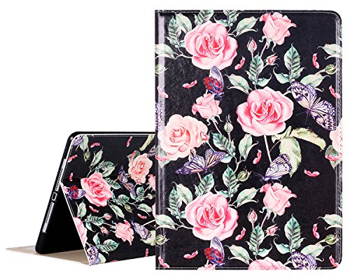 New iPad 2017 9.7 inch Case, Lontect Floral Design PU Leather Folio Flip Smart Case Cover Stand with Auto Wake/Sleep for New iPad 2017 9.7 Inch / iPad Pro 9.7 inch - Rose Flower (Wake Flowers)