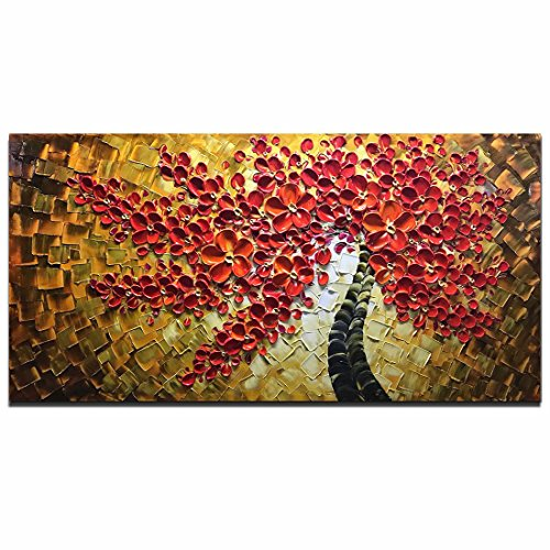 Asdam Art -100% Hand Painted Paintings Red Art Work Maple Tree Pictures Abstract Art Large Wall Art for Living Room Artwork on Canvas Ready to Hang Framed Art for Bedroom ()