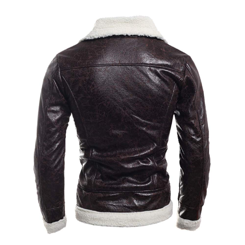 kemilove Mens Winter Spread Collar Lamb Cashmere Lined Suede Leather Trucker Jacket Coats