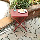PHI VILLA Outdoor Folding Bistro Table- Patio, Porch Metal Side Table, Apple Red
