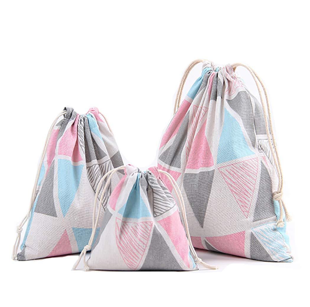 Amoyie 4 pcs Drawstring Storage Bag Set for Baby Stuff Travel Home Accessories Beige Animal