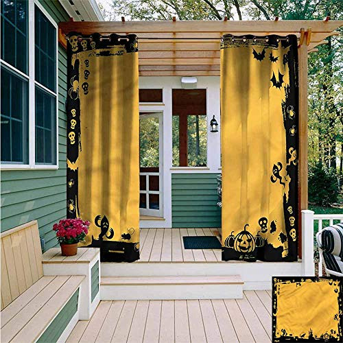 Beihai1Sun Outdoor Curtains,Halloween Cats Bats Skulls Ghosts,for Patio/Front Porch,W108x96L