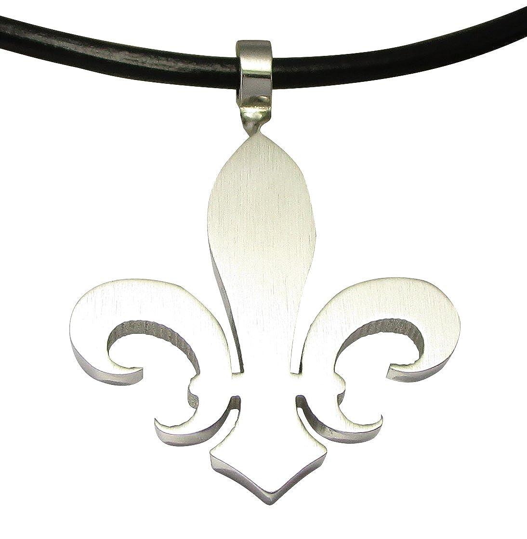 Kikuchi Herren Halskette Anhänger Edelstahl Fleur de Lis Klassisch Silber Matt Lederhalsband schwarz HA15148M Kikuchi O.Y.