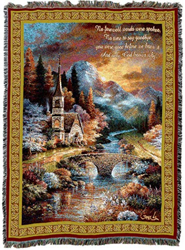 Pure Country Weavers | Early Service Woven Tapestry Sympathy Throw Blanket with Fringe Cotton USA 72x54