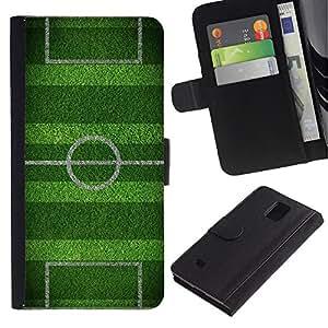 Planetar® Modelo colorido cuero carpeta tirón caso cubierta piel Holster Funda protección Para Samsung Galaxy Note 4 IV / SM-N910 ( Soccer Field Goal Game Goal )