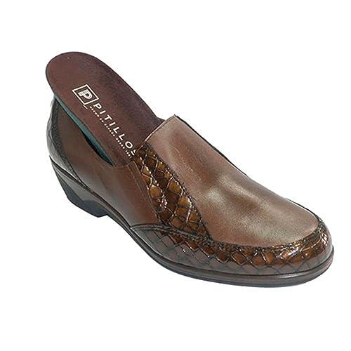 Zapatos Mujer con Adornos de cocodrilo Gomas en los Lados Pitillos en marrón: Amazon.es: Zapatos y complementos