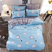 4pcs Bedding SetDuvet Cover Set Microfiber Durable One Duvet Cover Without Comforter One Flat Sheet Two Pillowcases YJ Twin Full Queen Smile Cloud Star Design (Twin, Cloud Plane, Blue)
