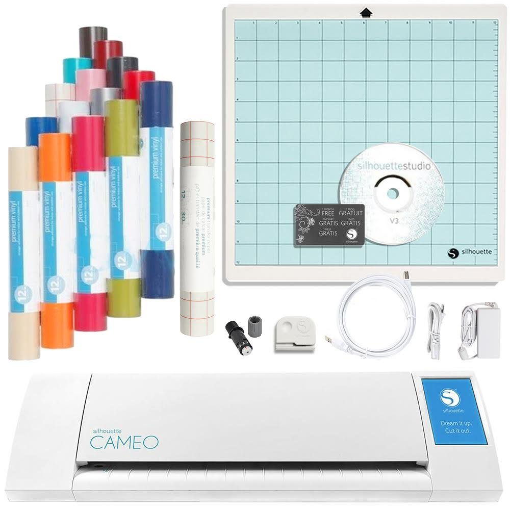 Silhouette America Cameo II Touch Screen with 4 Vinyl Rolls & Transfer Tape Bundle