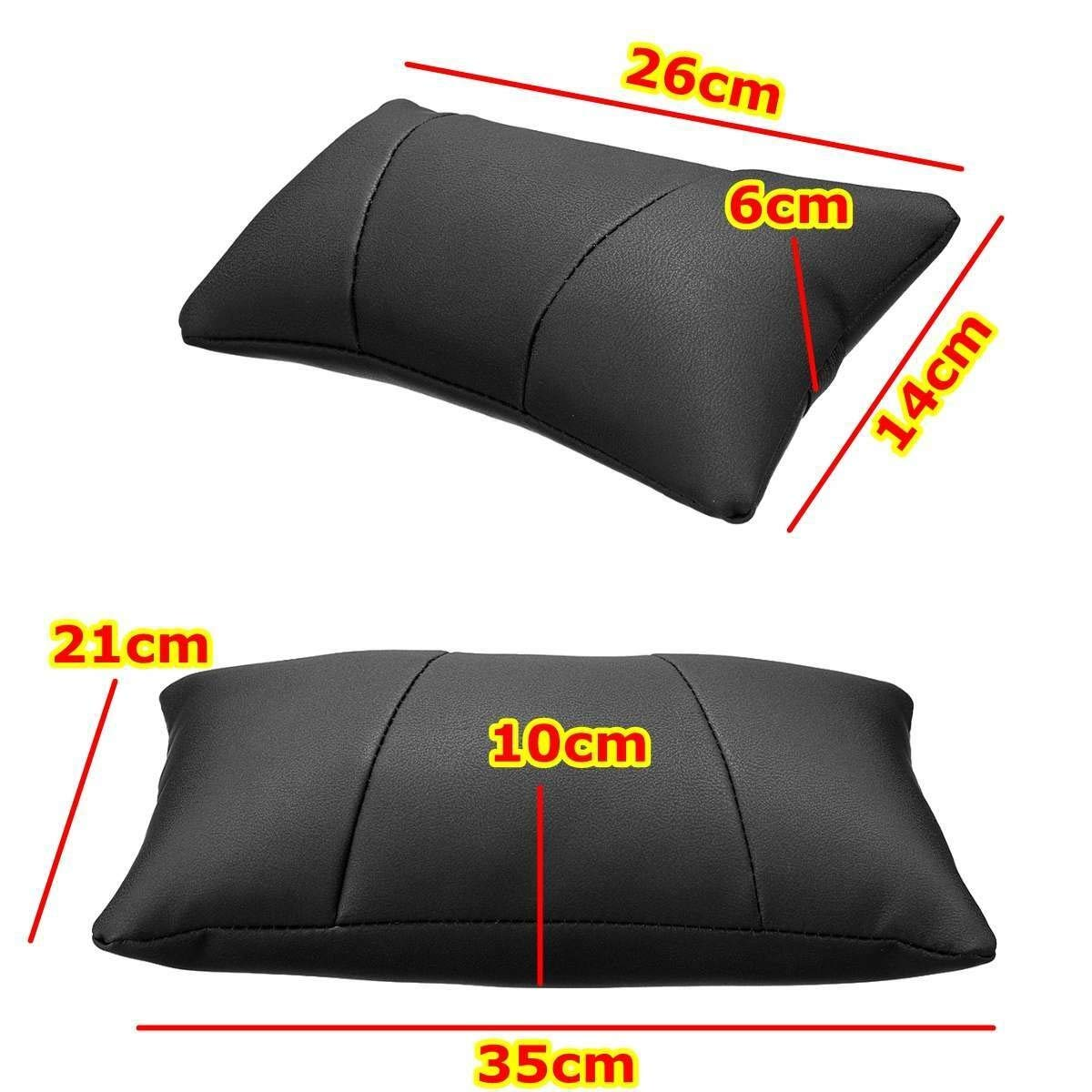 Noth-Too Soft Leather Car Neck Back Seat Pillow Lumbar Support Massager Waist Cushion Pillow for Chairs Seat Relieve Pain Luxury Sponge Mats (Color Name : Coffee 2pcs) by Noth-Too