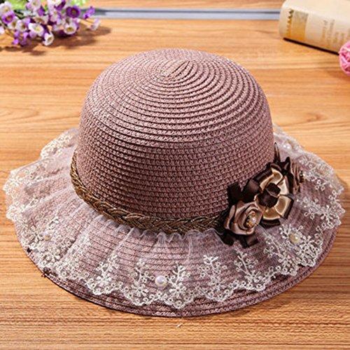 HAIPENG gorra Sombrero De Playa Ala Ancha Sombreros Protección Solar Mujer  Moda Cordón Respirable Anti-UV proteccion solar Paja e62280639c3