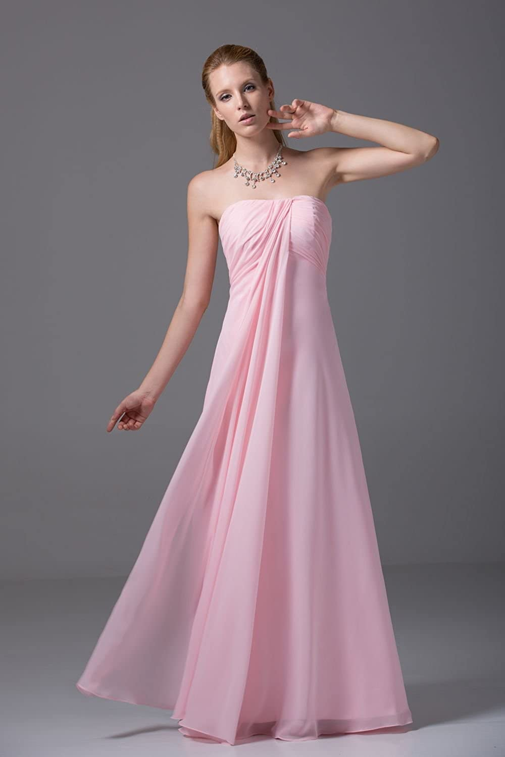 Bridal_Mall Women's Strapless Pleated A-line Bridesmaid Dress