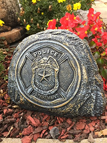 Policeman Service Stone Memorial Handmade in USA made of cast stone concrete great for indoor or outdoor 3 color options available(Bronze Patina)