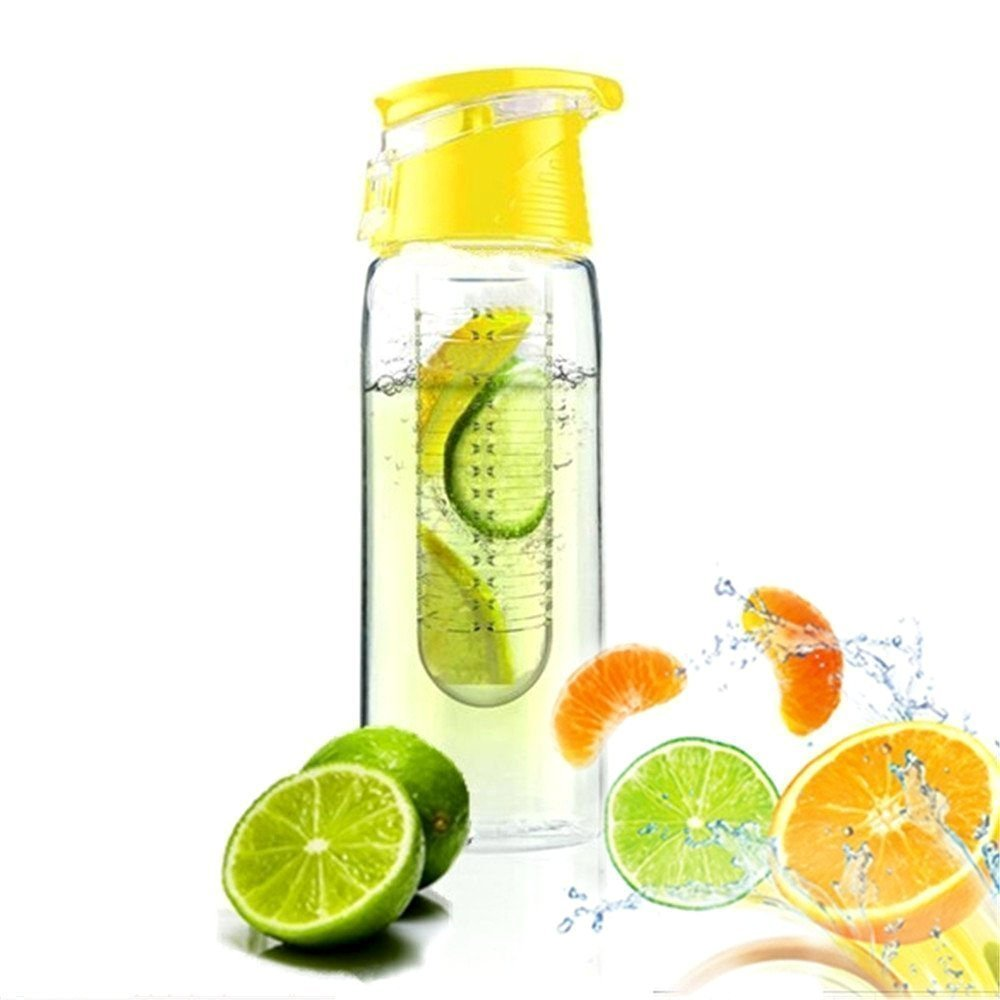 Leisial 800ML Bouteille avec Infuseur à Fruits Infusing Water Bottle and Flip Lid Lemon Juice Make Bottle(Jaune)