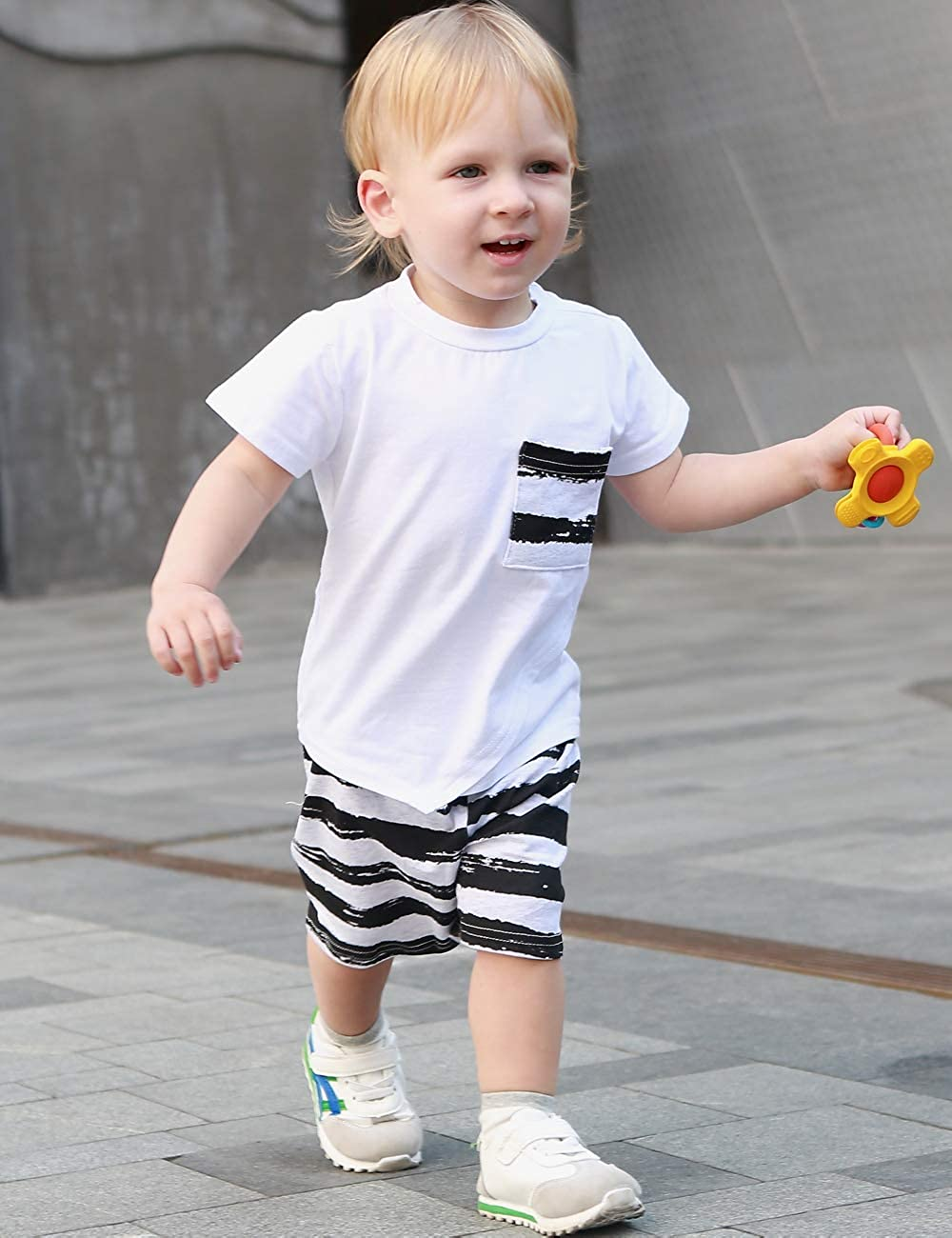 Baby Boys Clothes Black Tops Stripe Pocket Short Sleeve Top Striped Pants Outfit Summer Clothing Set
