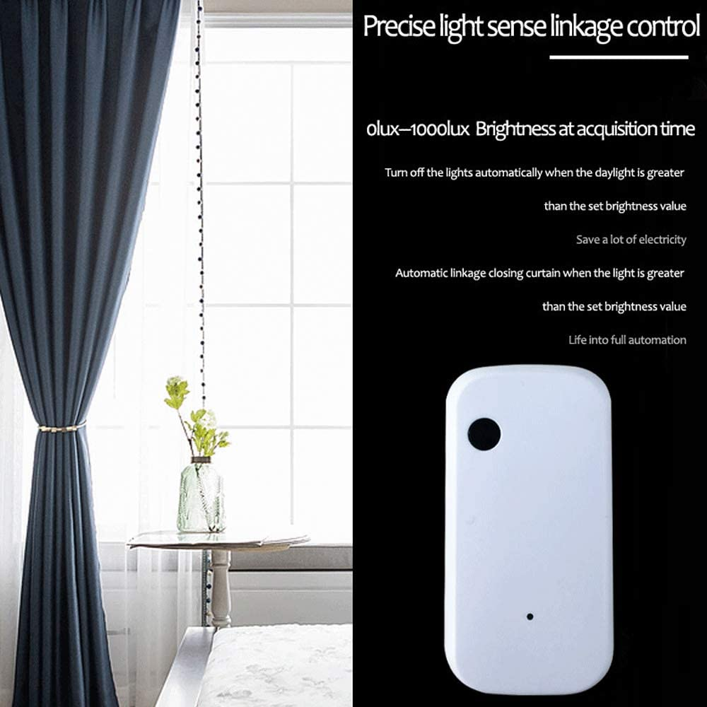 Funciona con Smart Life App,Linkage Intelligence Illumination Sensor Alimentado por Tuya OWSOO KKMOON Sensor de luz WiFi