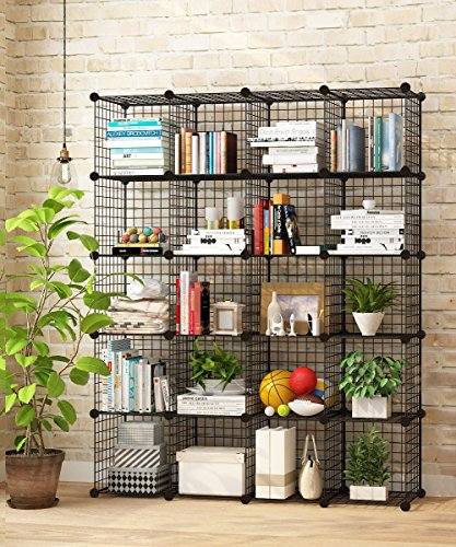 Metal Wire Art (KOUSI Storage Cubes Wire Grid Modular Metal Cubbies Organizer Bookcases and Book Shelves Origami MultiFuncation Shelving Unit, Capacious & Customizable, Black, 20 Cubes)