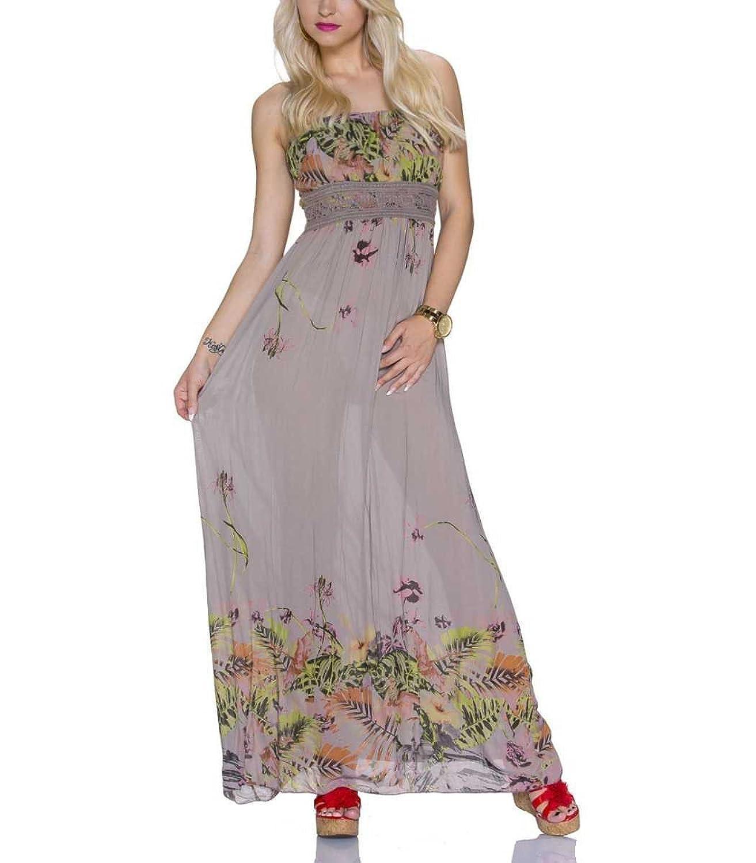 Bandeau Maxikleid trägerlos rückenfrei Sommerkleid Kleid ...
