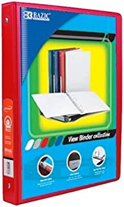 """BAZIC 1/2"""" Red 3-Ring View Binder w/ 2-Pockets, for School, Home, or Office (Case of 12)"""