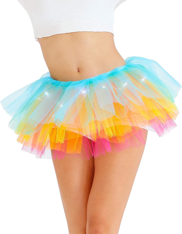 YO-HAPPY Womens Tutu Skirt Bright Candy Color Mesh Underskirt Photography Cosplay Pettiskirt Elastic Waistband Dance Dress