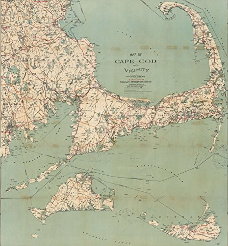 - Historic Pictoric Map | Cape Cod & Martha's Vineyard & Nantucket 1909 Century Atlas | Vintage Poster Art Reproduction | 24in x 26in