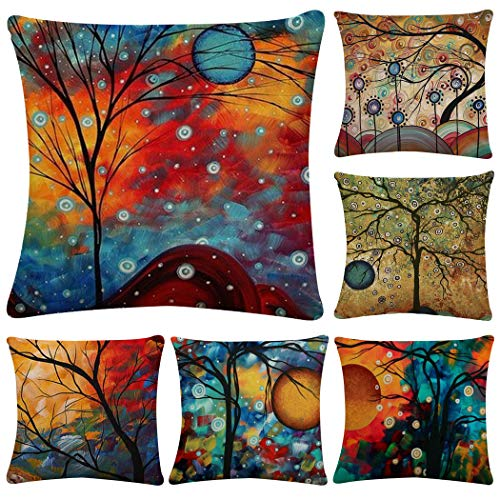 - Polyester Throw Pillow Case Cushion Cover Home Sofa Decorative 18 X 18 Inch/45X45cm(Cover Only,No Insert) (6 Pack Dusk Tree)