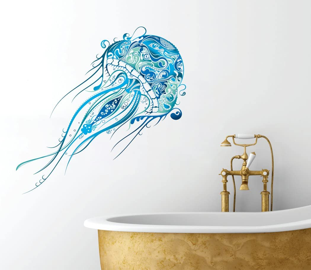 "Fancy Jellyfish Design - Beautiful Ocean Inspired - Full Color Bathroom Wall Decal - 12"" x 6"""