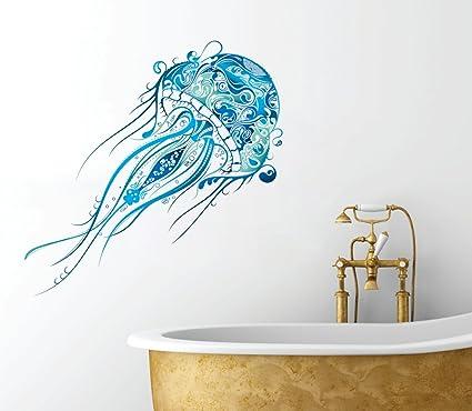 fancy jellyfish design beautiful ocean inspired full color bathroom wall decal 20 - Bathroom Wall Decals