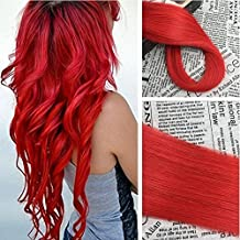 Moresoo 100% Remy Human Hair Extensions 50g/20pcs Silky Straight Tape in Pastel Hair Color Red Fashion Color 18 inch