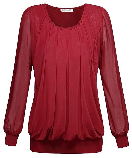 BAISHENGGT Mujer Blusa Top con Detalle Plisado Rojo Small