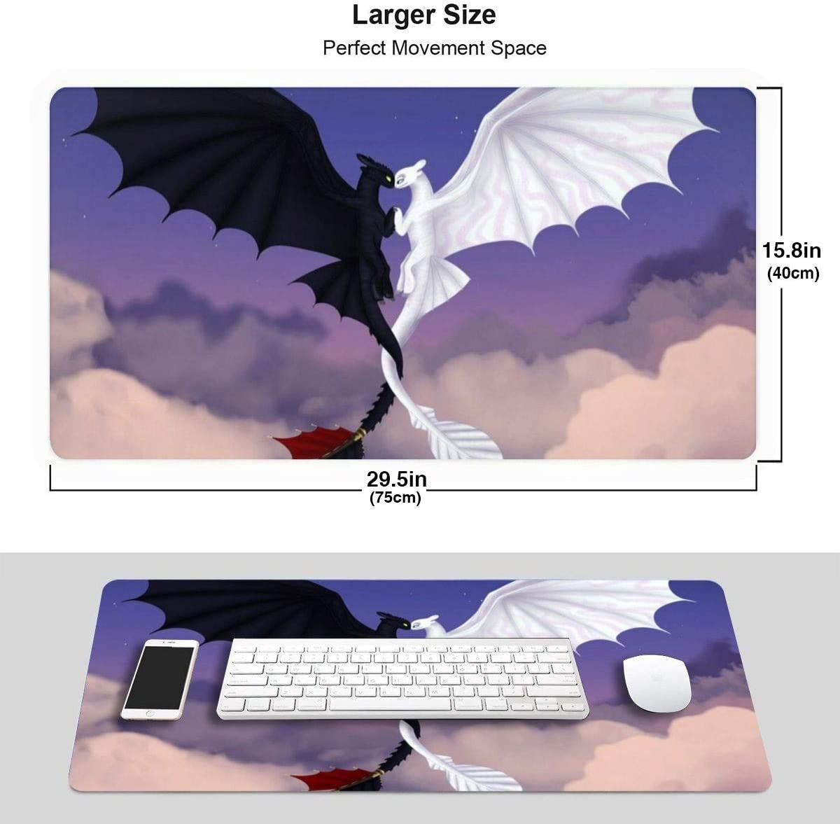 Extended Gaming Mouse Pad with Stitched Edges Desk Pad Keyboard Mat 29.5 X 15.8 Inch How to Train Your Dragon Toothless and Day Fury Large XXL Mousepad with Non-Slip Base