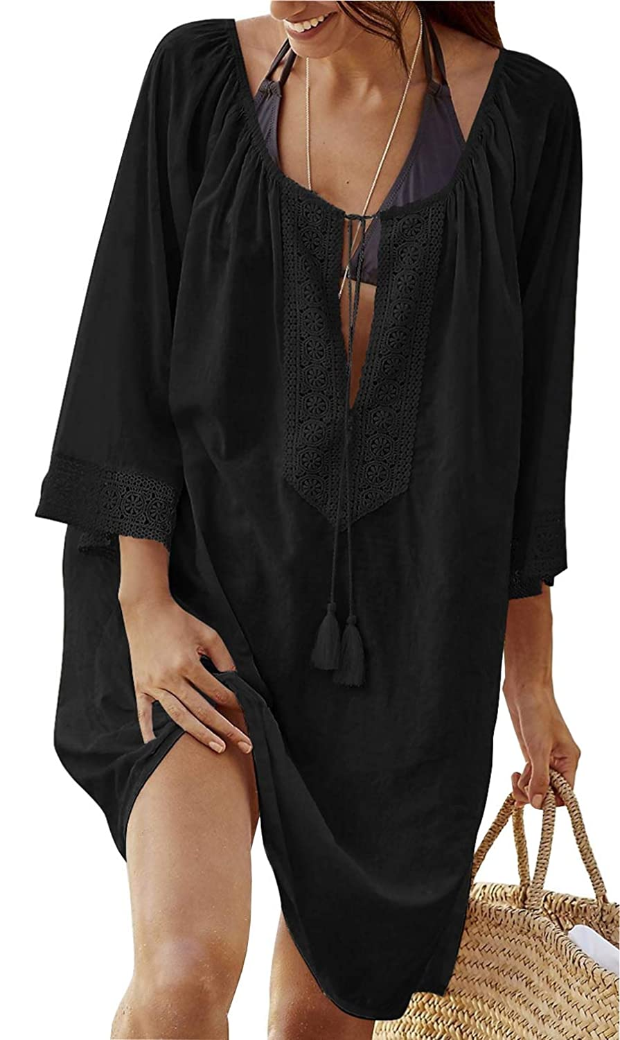 Dreamlove Damen Strandkleid Bikini Cover Up Sommer Baumwolle Lose Tunika Shirt Strandtunika Überwurf Blusenkleider Strandponcho Sommerkleid Kaftan Badeanzug