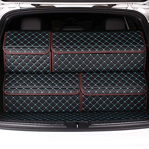 EverLux Auto Trunk Organizer for Car, Luxury Leather Foldable Trunk Storage for Interior SUV, Pickup, Van, Sedan, Portable Crocery Cargo Container (Black & Blue, XL) ()