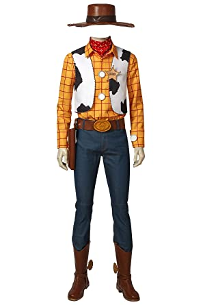 Amazon.com: Toy Story Woody Costume Adult Cowboy Costume Kit Brown Full Set  Suit: Clothing