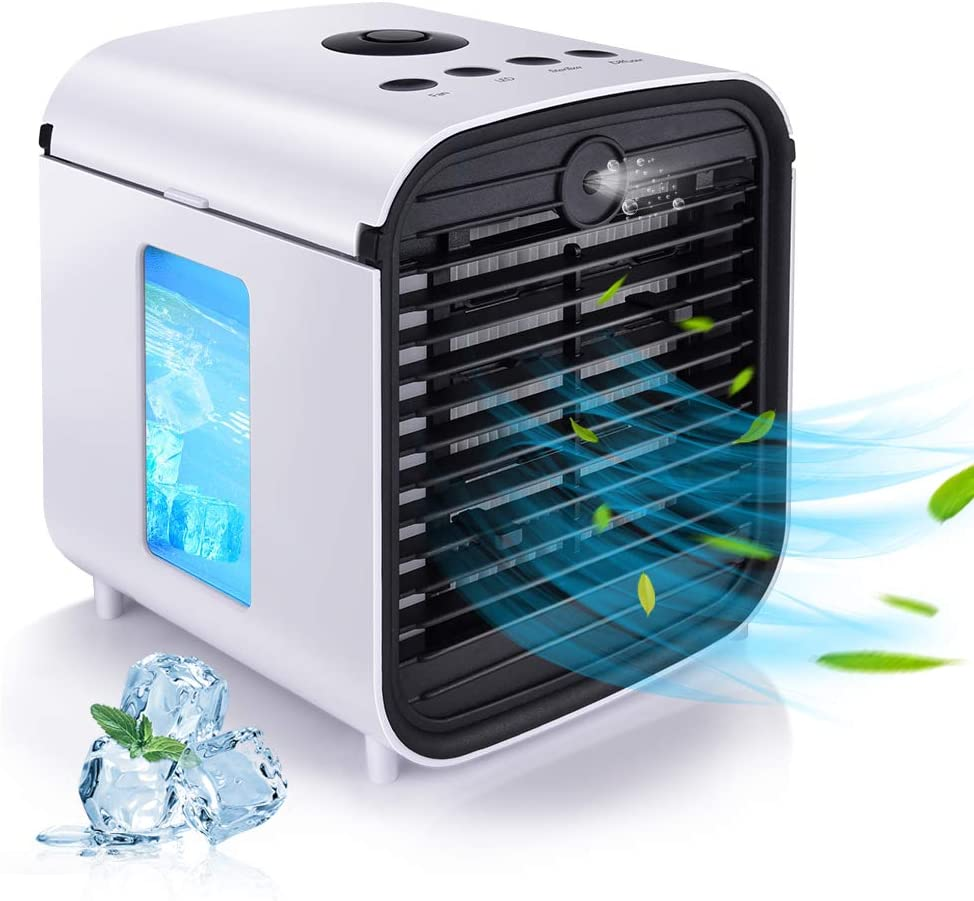 2020 Latest Personal Air Cooler, Portable Air Conditioner, Humidifier, Purifier, Aroma Diffuser 4 IN 1 Evaporation Cooler with 3 Speed, 7 LED Lights, Mini Cooling Desktop Fan for Camping Tent, Office