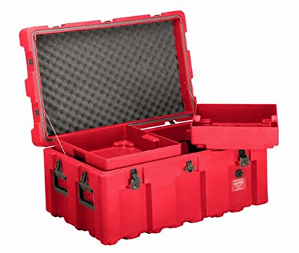 Loadmaster Footlocker Storage Trunk W/Wheels, Removable Trays, ECS Case, Red