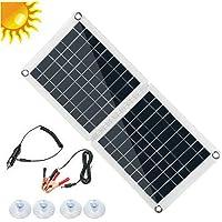 aoixbcuroc Panel solar, 60 W, doble USB, panel solar plegable, mono, caravana, barco, camping, carga