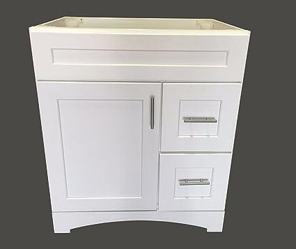 New White Shaker Single-sink Bathroom Vanity Base Cabinet 30