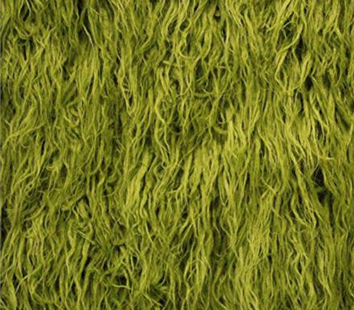 Faux Fur Long Pile Curly Fabric Alpaca Sold by The Yard (Loden Green)