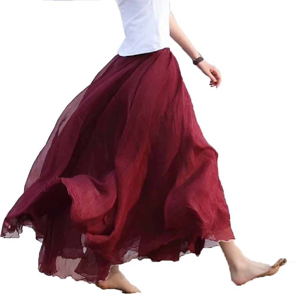Eleter Girl's Chiffon Skirt Long Skirt Fit S-M (Wine Red)