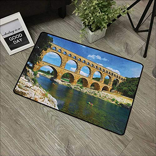 (Door mat W24 x L35 INCH Landscape,Ancient Roman Heritage Wall Southern France Architectural Historical Landmark, Blue Green Tan Easy to Clean, Easy to fold,Non-Slip Door Mat Carpet)