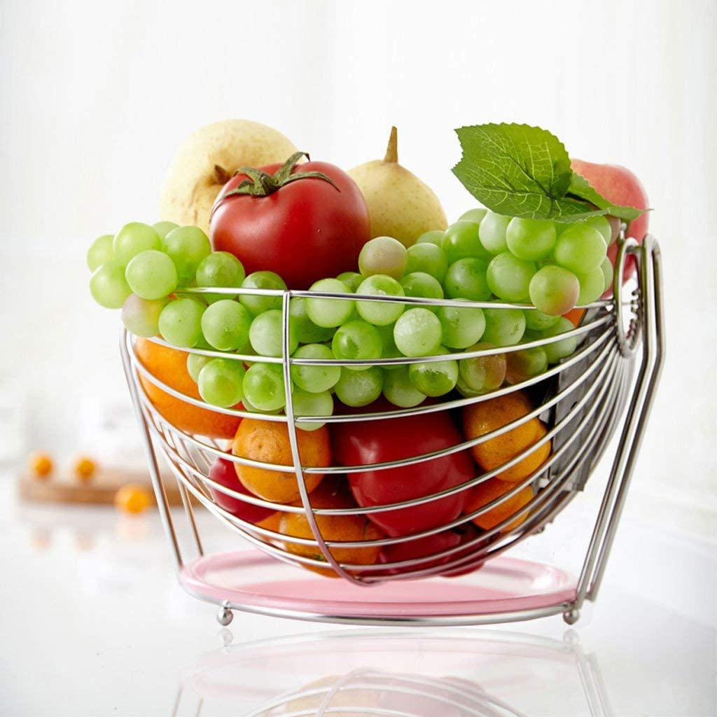 Fruit Basket European Home Fruit Plate Living Room Decoration Fruit Storage Tray Large Stainless Steel Food Container 18.5x25.5x26.5cm Fruit