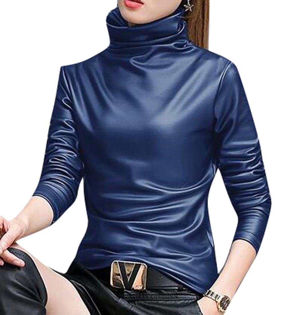 Oberora-Women Casual Turtle Neck Long Sleeve Pu Leather Fleece Lined Shirt Blouse Tops Blue XXXL