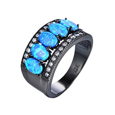 0d5303dd1d PSRINGS Elegant Ocean Blue Fire Opal Ring Black Gold Filled Wedding Party  Crystal Jewelry Rings Valentine's